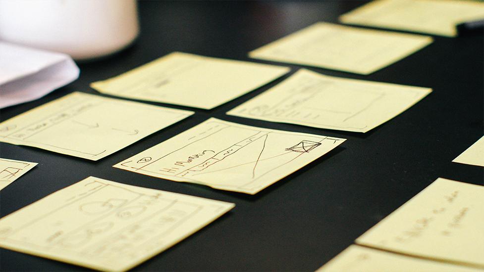 a close up of sticky notes