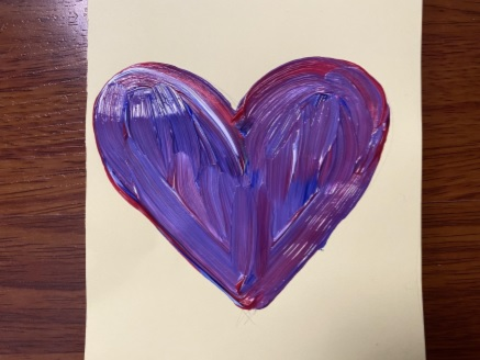 painted heart on paper