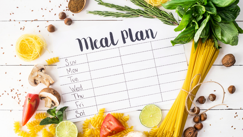 a meal plan with food around it
