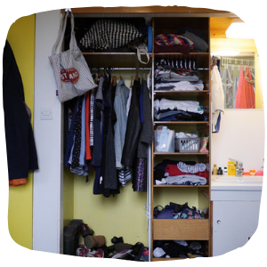 a wardrobe full of clothes