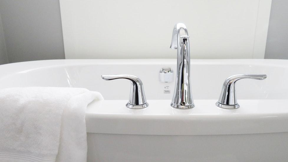 a close up of a bath