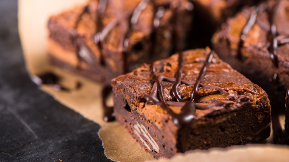 a close up of brownies