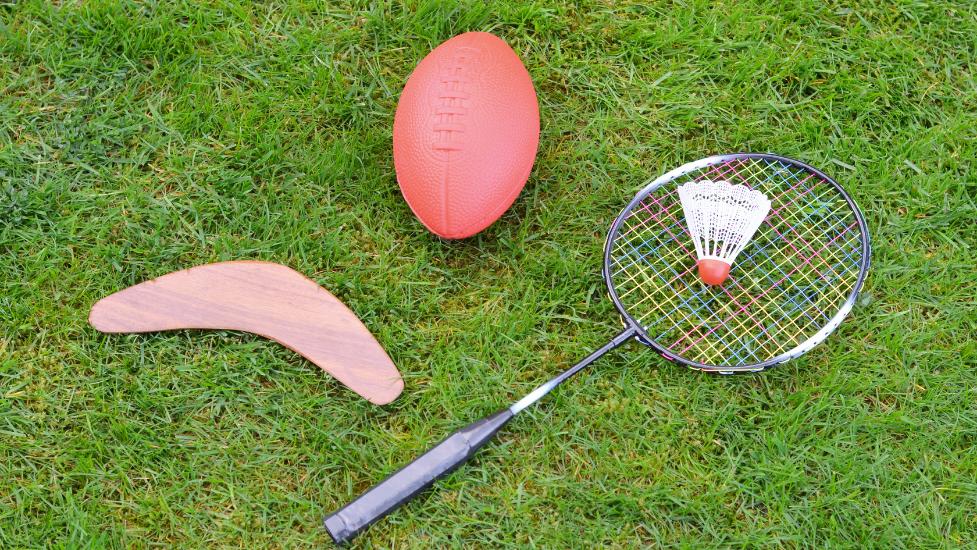 sport items on grass