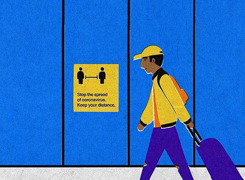 illustration of student wheeling luggage