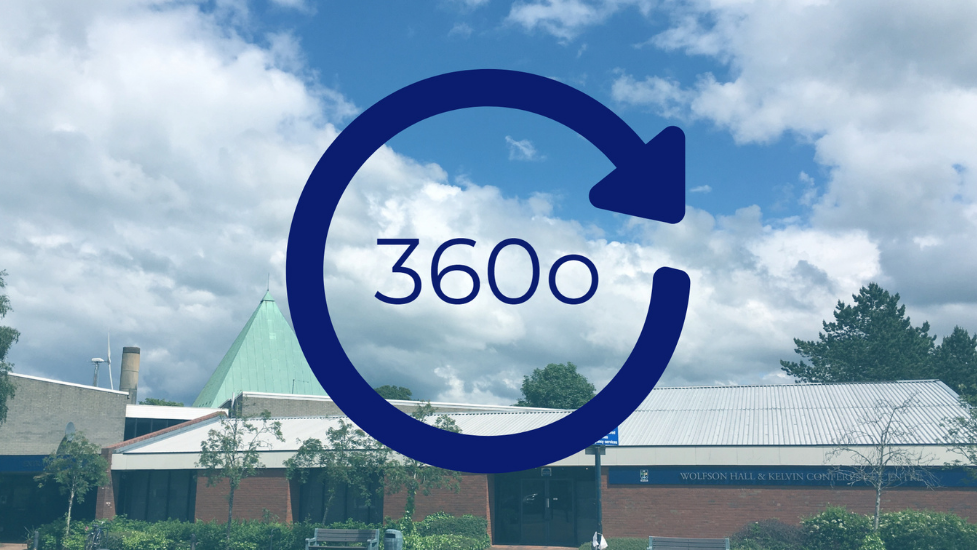 a 360 sign in front of a cloudy blue sky