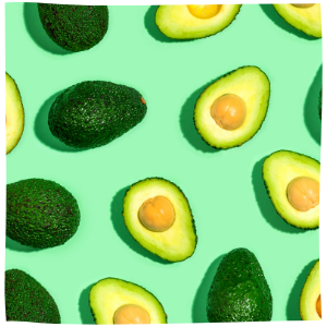 a number of avocados on a green background