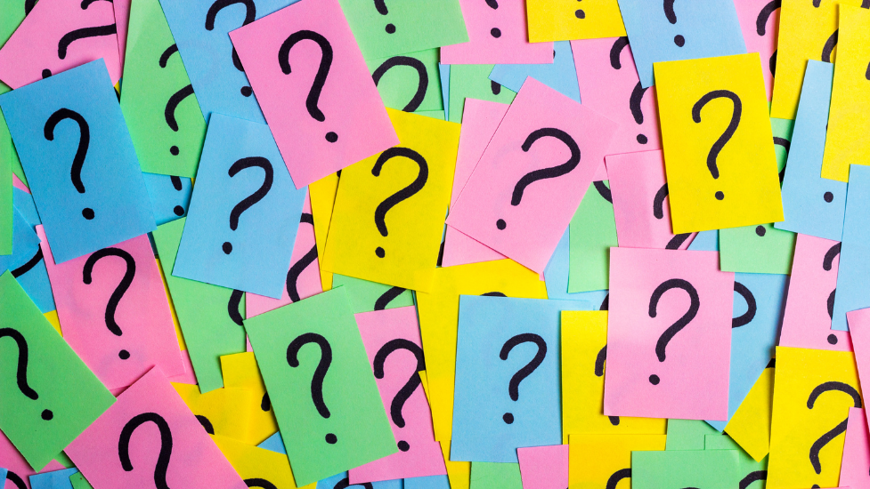 post-it notes with question marks on them