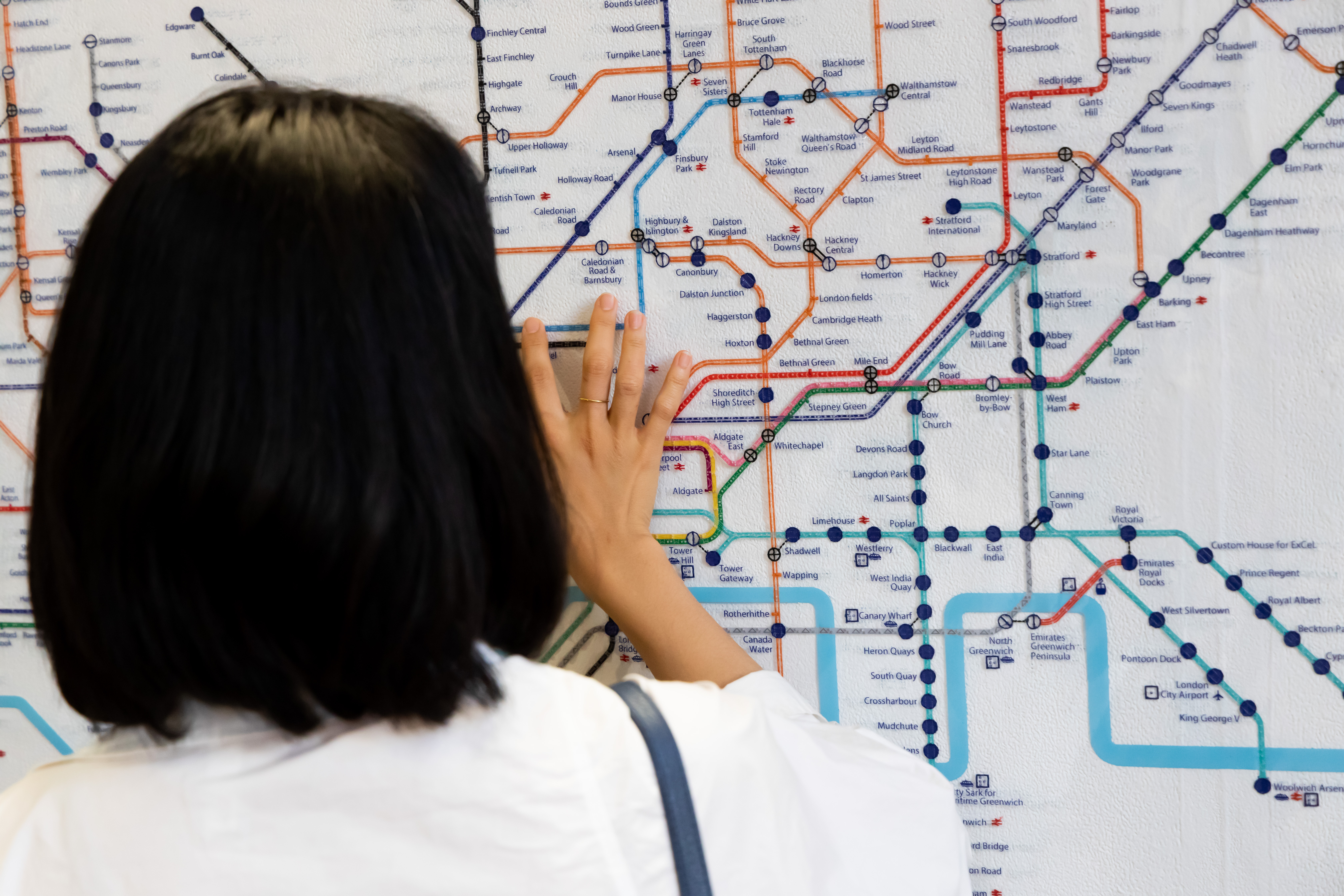 Person looking at tube map