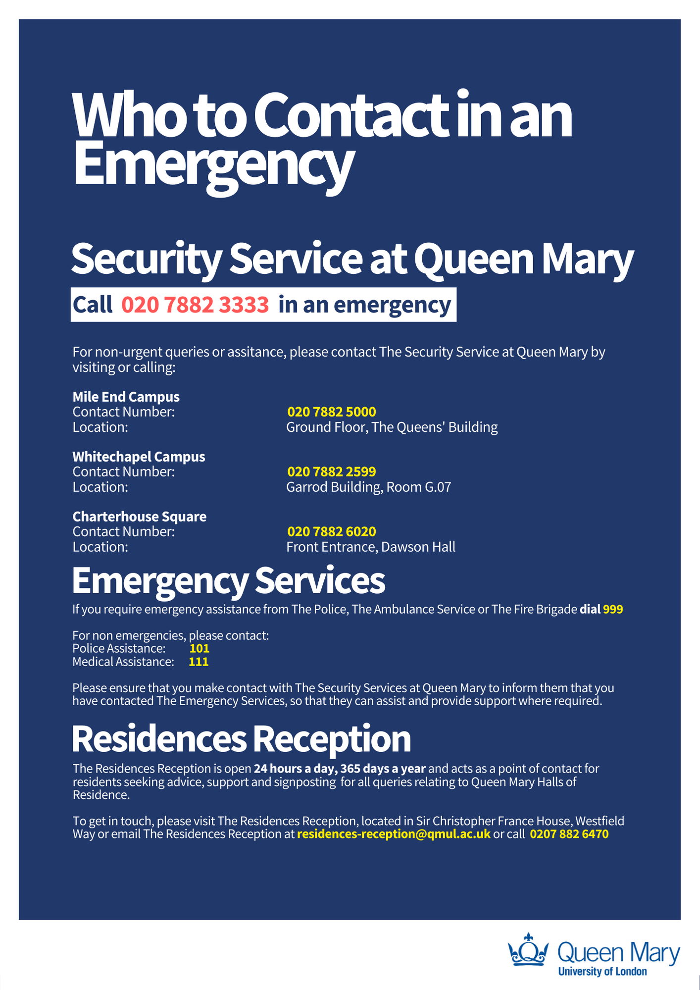 who to contact is an emergency poster