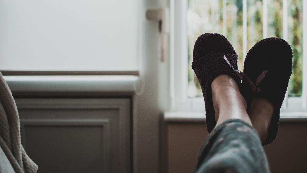 feet up on a sofa
