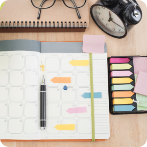 a diary with post-it notes in
