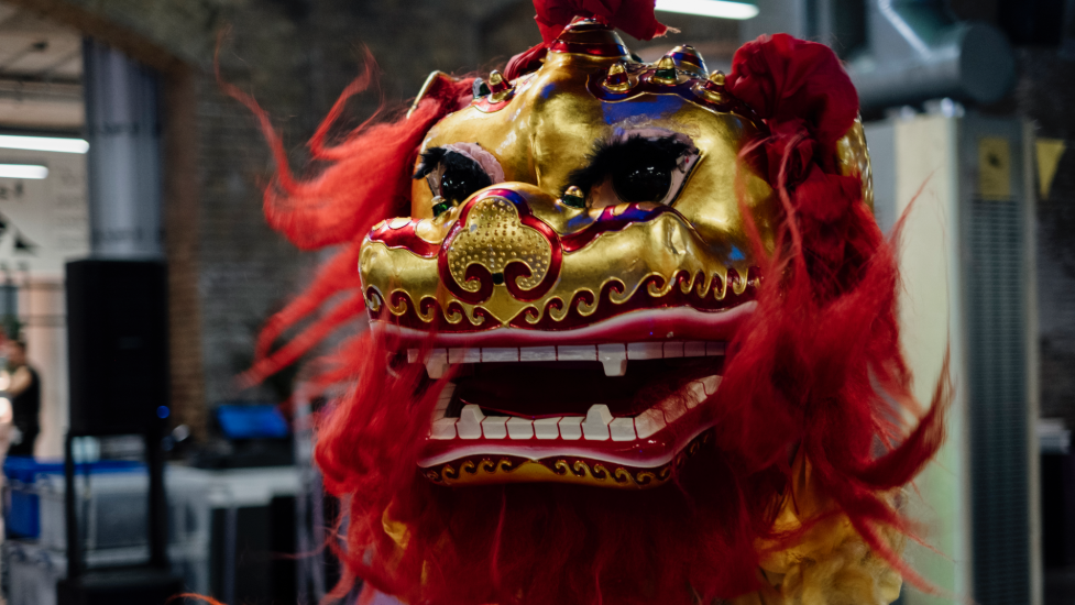 a person wearing a chinese red and gold dragon costume
