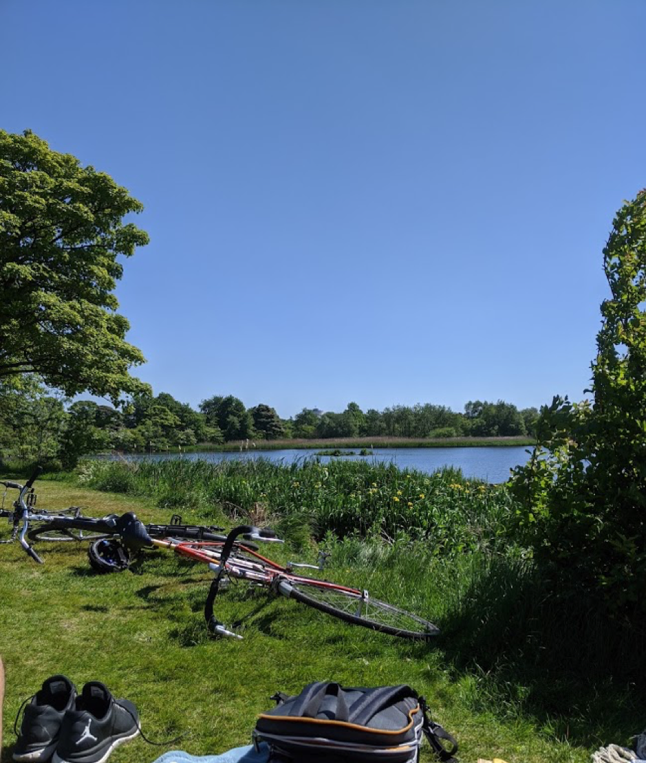 Bicycles in front of a loch