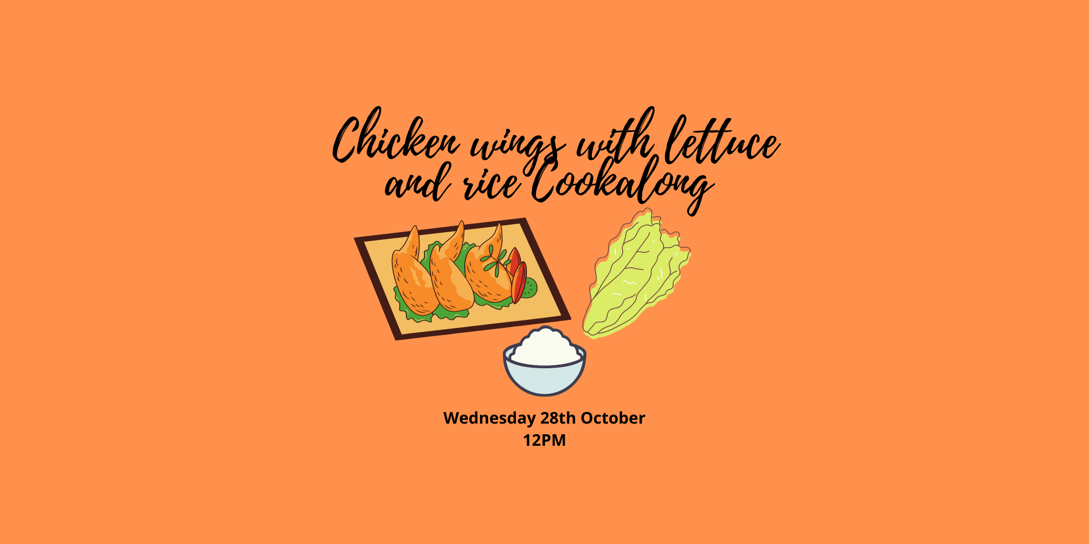 Cartoon chicken wings, lettuce leaves and rice