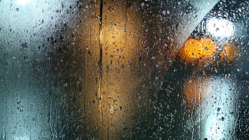 a bright light in the rain