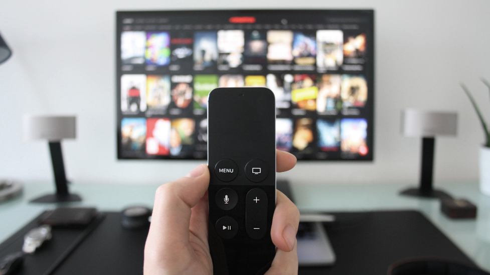 a hand holding a remote control