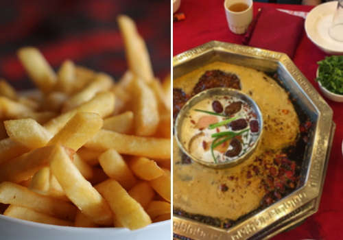 a plate of food and fries