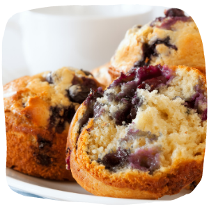a close up of a blueberry muffin